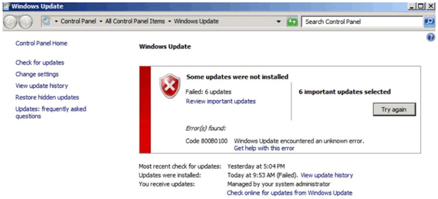 error while updating windows 8.1