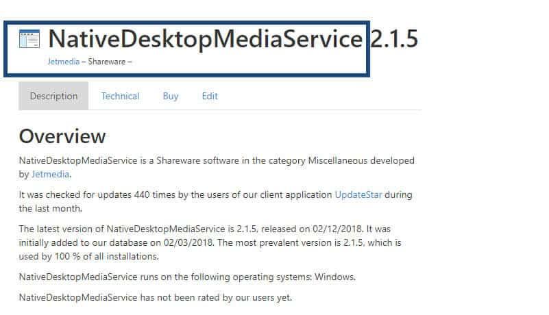 Native Desktop Media Service Virus