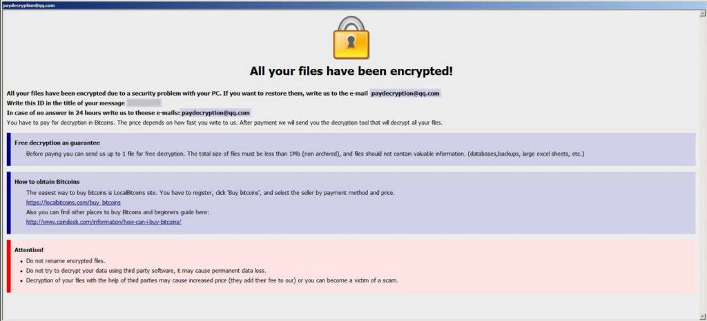 paydecryption@qq.com -Ransomware removal