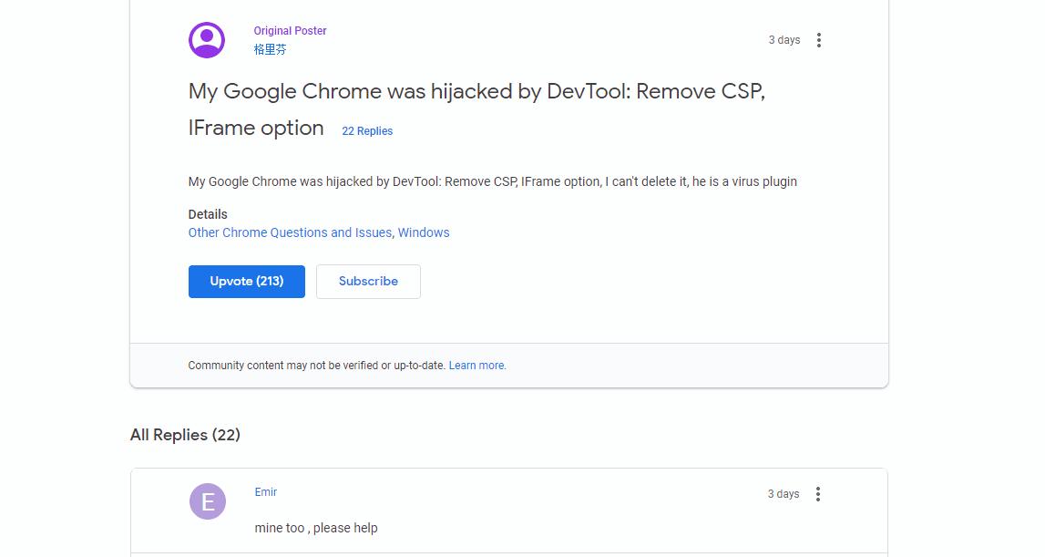 DevTool: Remove CSP, IFrame option Virus