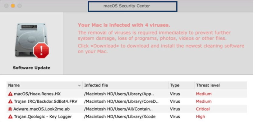 macOS SecurityCenter Virus