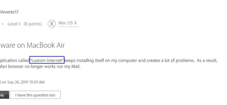 "Remove ""Custom Internet"" Mac Virus"