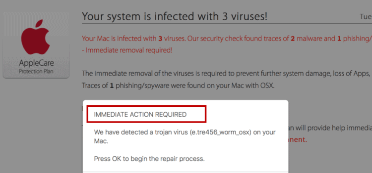 Remove Immediate Action Required Virus (Mac/iPhone)