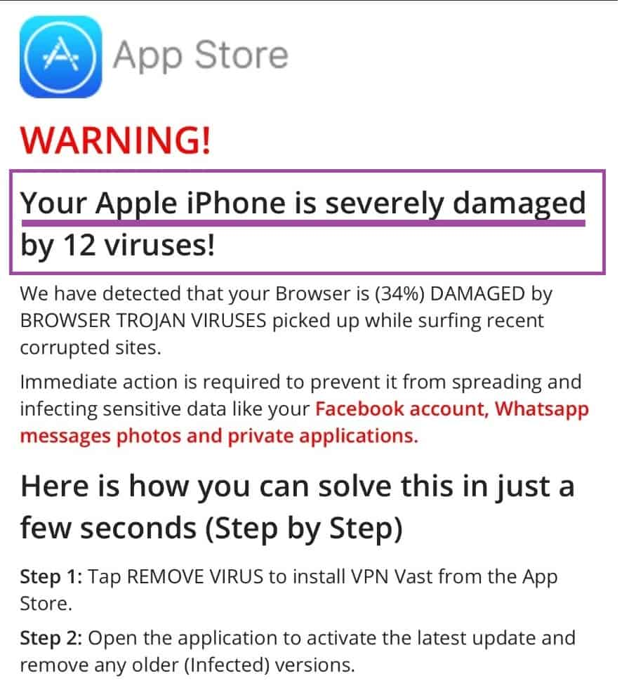 your iphone damaged Virus